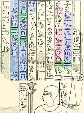 Excerpt from the biography of Ahmose-Pennekheb showing kings� names 