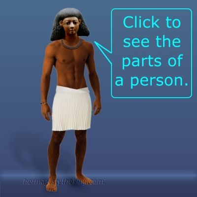 An ancient Egyptian man wearing a kilt and necklace.
