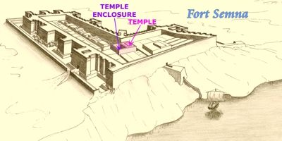 Drawing of Fort Semna with location of temple highlighted