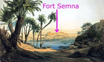 Coloured engraving of a narrow rocky section of the Nile 