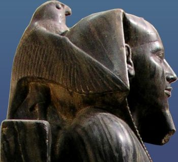 The Horus falcon embracing King Khafre