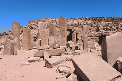 Entrance to the temple of Hathor in Serabit el-Khadim, Sinai, crowded with stelae